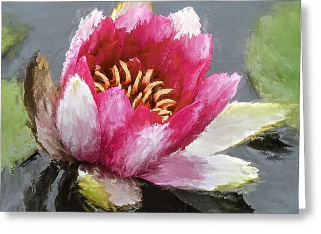 Water Flower Impression Greeting Card by Yury Malkov