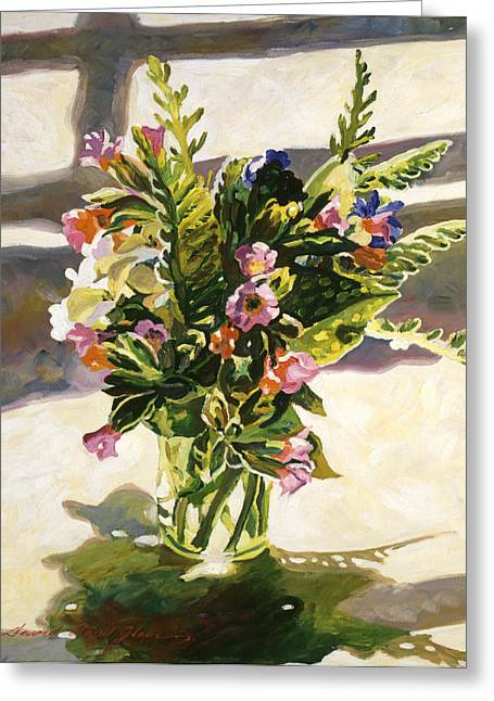 Water Glass Flowers Greeting Card