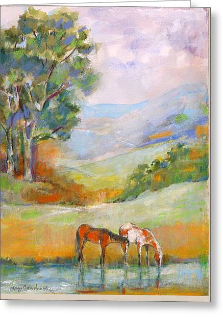 Greeting Card featuring the painting Water Hole by Mary Armstrong