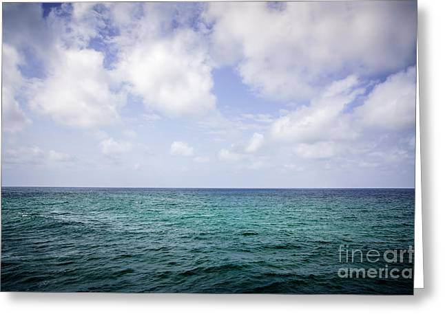 Water Horizon With Clouds And Blue Sky Greeting Card