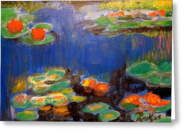 Greeting Card featuring the mixed media Water Lilies  After Monet by Diana Riukas