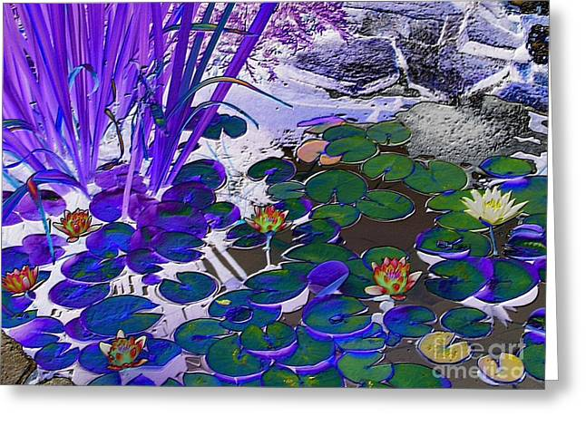 Water Lilies Blue Greeting Card