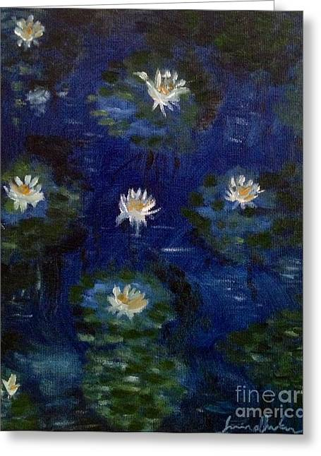 Greeting Card featuring the painting Water Lilies by Brindha Naveen