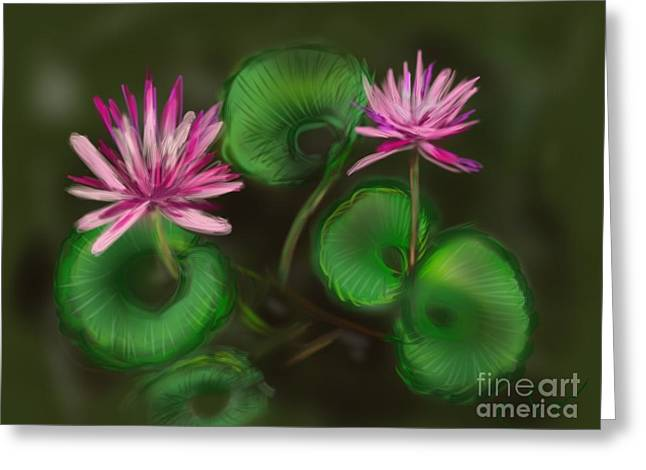 Greeting Card featuring the digital art Water Lilies by Christine Fournier