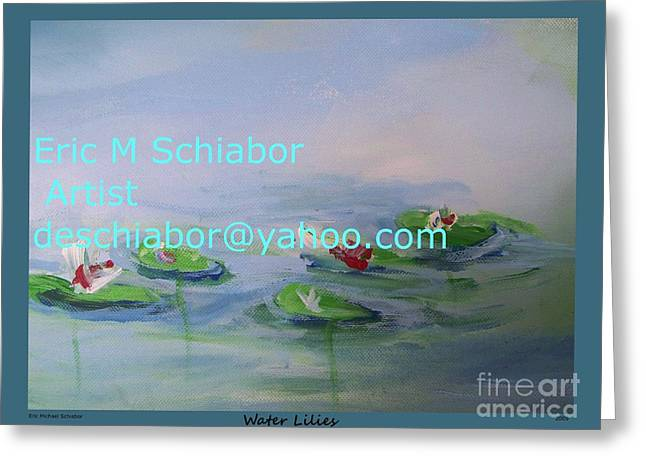 Water Lilies Print Greeting Card by Eric  Schiabor