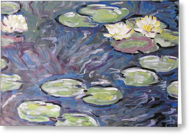 Greeting Card featuring the painting Water Lilies by Vikram Singh