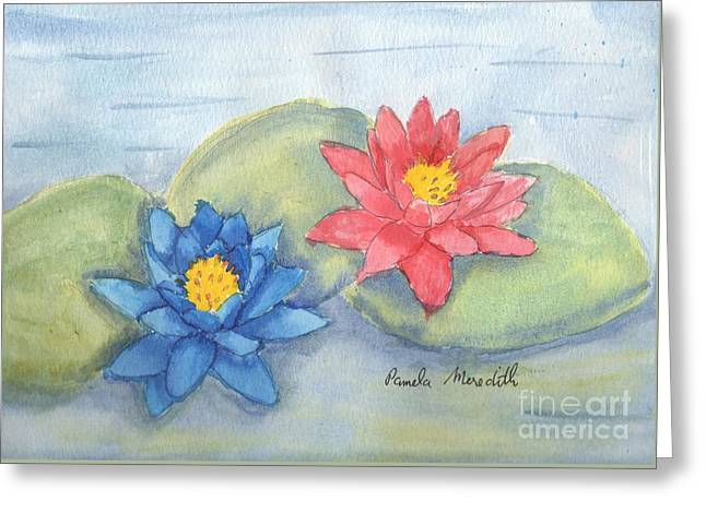 Water   Lillies  Greeting Card by Pamela  Meredith