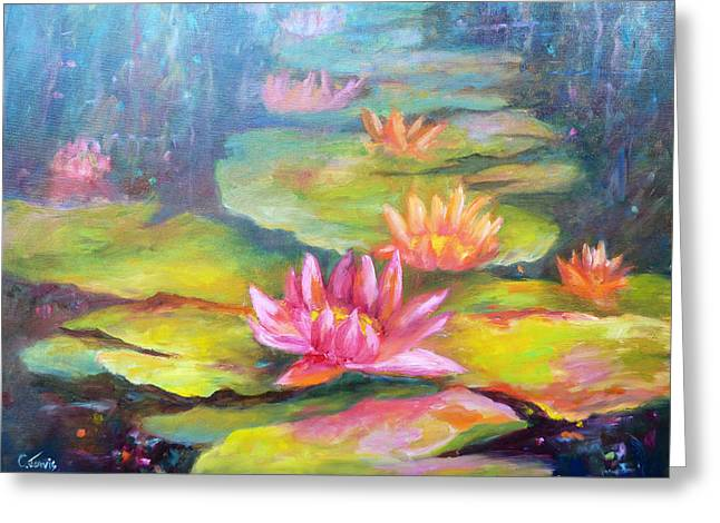 Water Lilly Pond Greeting Card by Carolyn Jarvis