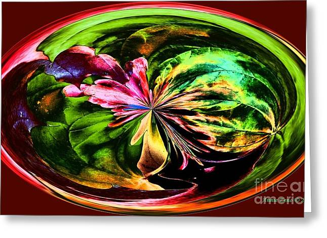Water Lily Abstract Art Greeting Card by Annie Zeno