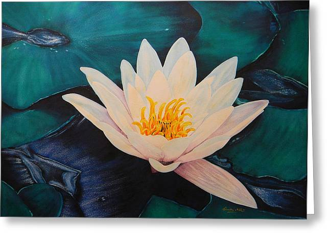 Water Lily Greeting Card by Adel Nemeth