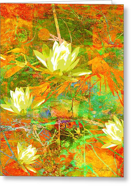 Water Lily Collage Abstract Flowers  Nature Art  Greeting Card by Ann Powell