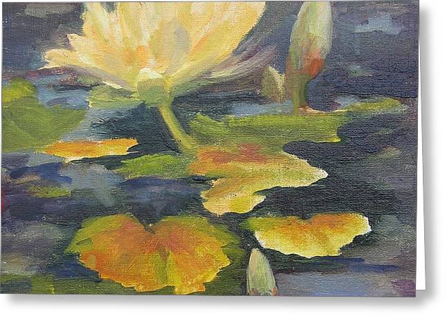 Water Lily In The Fountain Greeting Card by Maria Hunt