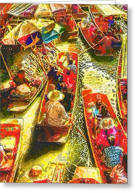 Water Market Greeting Card by Mo T