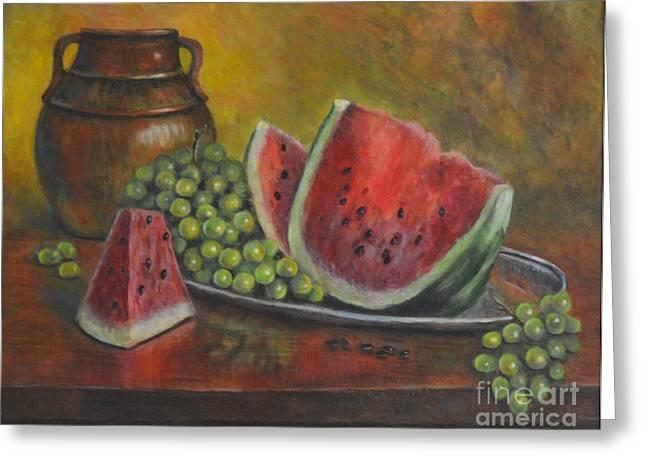 Water Melon Greeting Card by Jana Baker