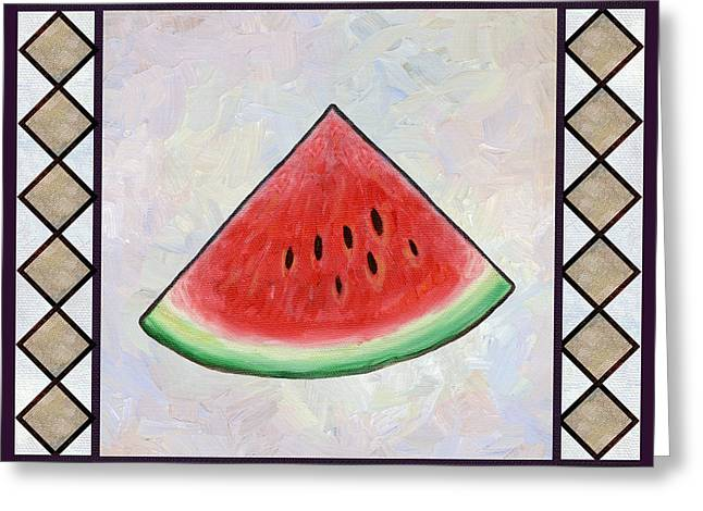 Water Melon Slice Greeting Card by Linda Mears