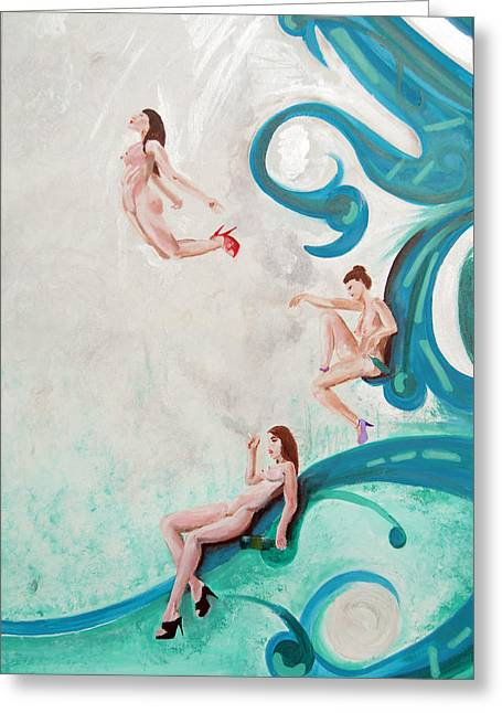 Water Nymphs Greeting Card by Lorinda Fore and Tony Lima
