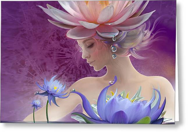 Water Of Life - In Violet Greeting Card by Anna Ewa Miarczynska