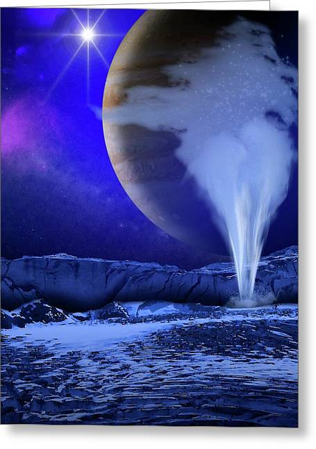 Water Plume On Europa Greeting Card by Nasa/esa/k. Retherford/swri