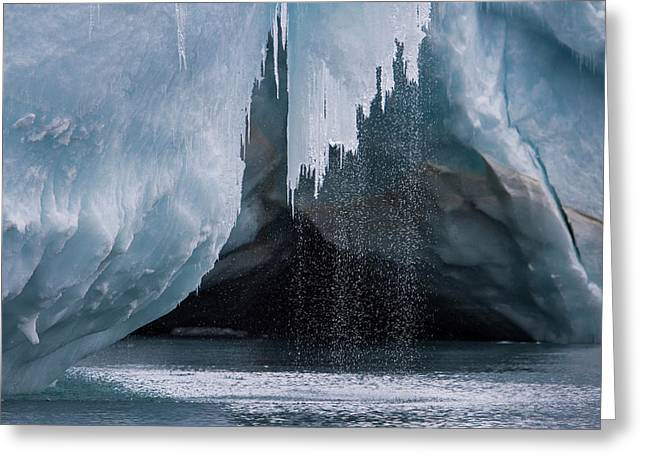 Water Pours Off A Glacier On The Edge Greeting Card by David Griffin