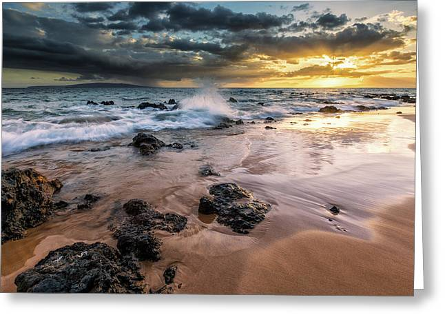 Water Splashing On The Beach Greeting Card