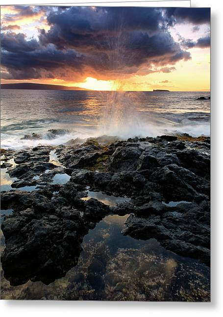 Water Splashing Onto The Lava Rock Greeting Card