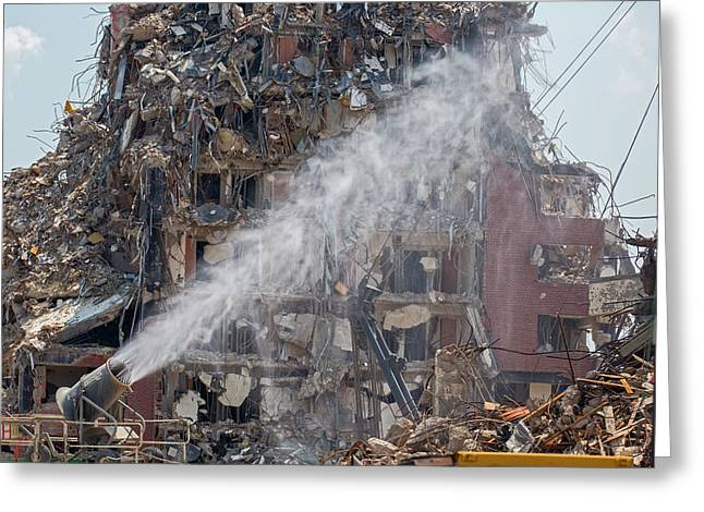 Water Spraying At Demolition Site Greeting Card by Jim West