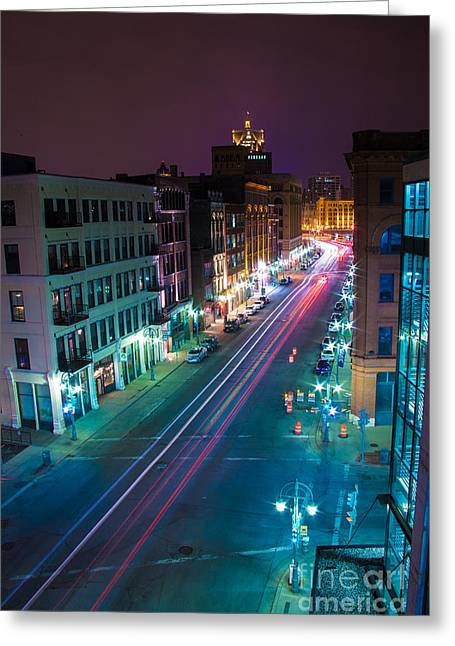 Water Street Zip Greeting Card by Andrew Slater