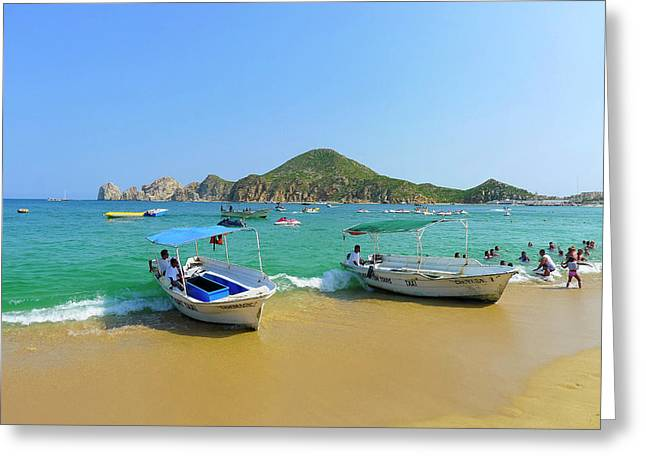 Water Taxi, Medano Beach, Cabo San Greeting Card by Douglas Peebles