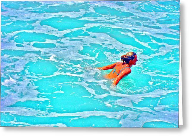Water Textures. Art On Canary Islands. Atlantic Ocean. Tenerife. Playa De Las Americas. Wave.  Ebb A Greeting Card