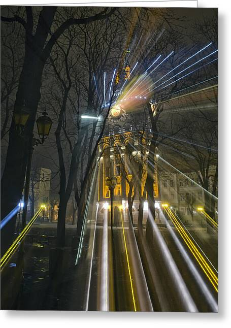 Water Tower At Night 4 Greeting Card by Zoriy Fine