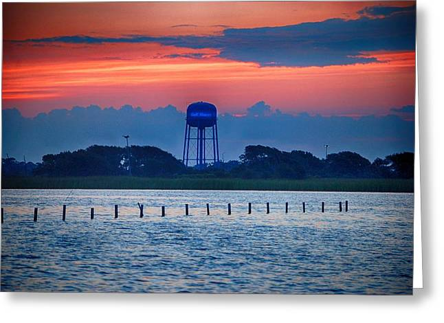 Water Tower Greeting Card by Michael Thomas