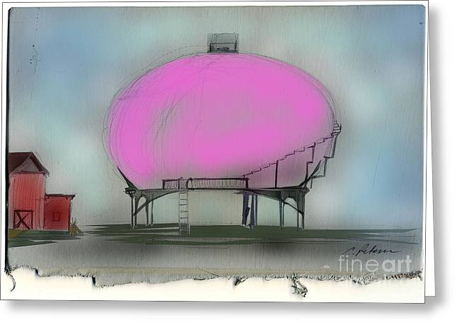 Water Tower  Yes It's Pink  Greeting Card