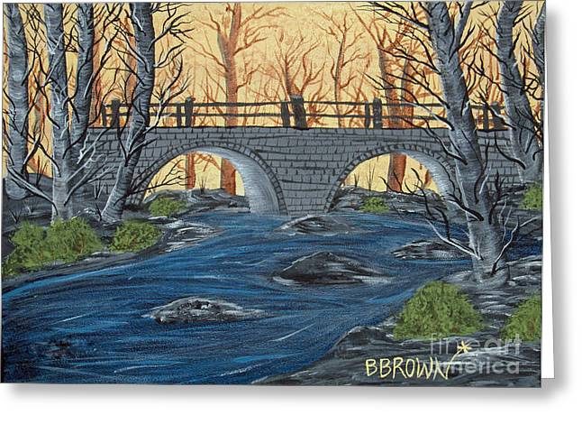 Greeting Card featuring the painting Water Under The Bridge by Brenda Brown
