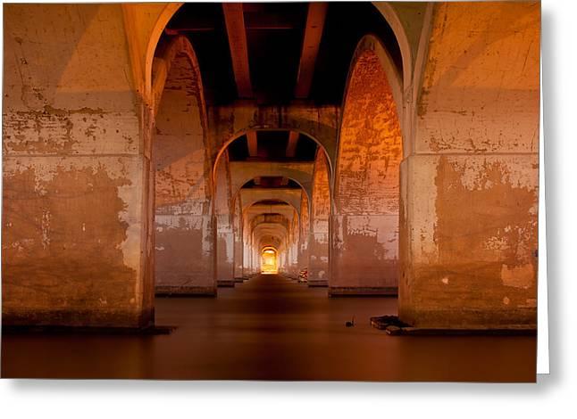 Water Under The Bridge - Tulsa Oklahoma Bridge Greeting Card by Gregory Ballos