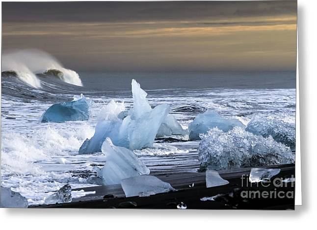 Greeting Card featuring the photograph Water Versus Ice by Gunnar Orn Arnason