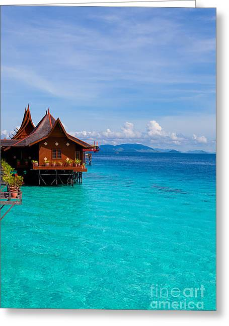 Water Village On Mabul Island Borneo Malaysia Greeting Card