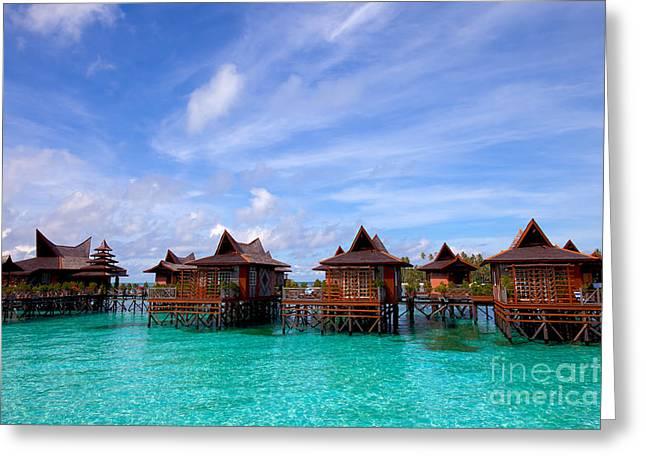 Water Village On Mabul Island Sipadan Borneo Malaysia Greeting Card by Fototrav Print