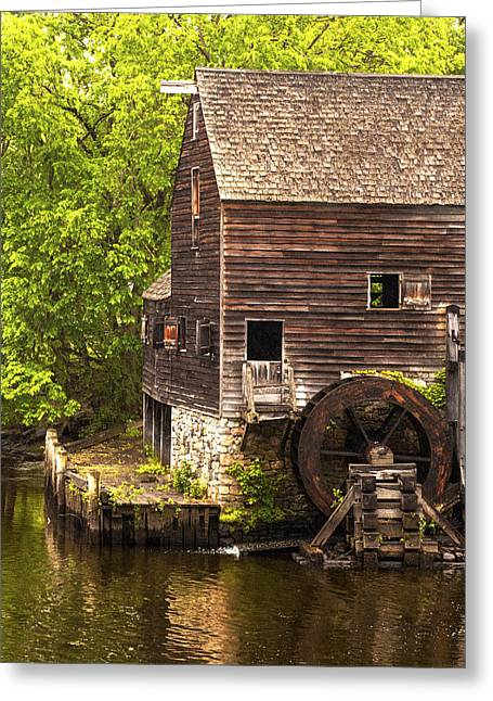 Greeting Card featuring the photograph Water Wheel At Philipsburg Manor Mill House by Jerry Cowart