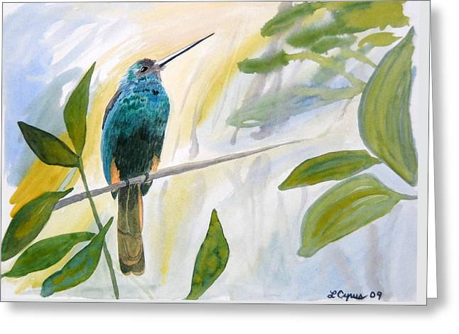 Greeting Card featuring the painting Watercolor - Jacamar In The Rainforest by Cascade Colors