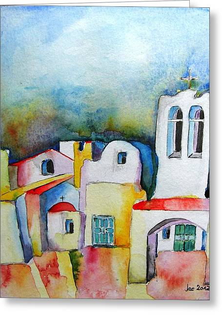 Watercolor ... Meets Greek Architecture Greeting Card by Jacqueline Schreiber