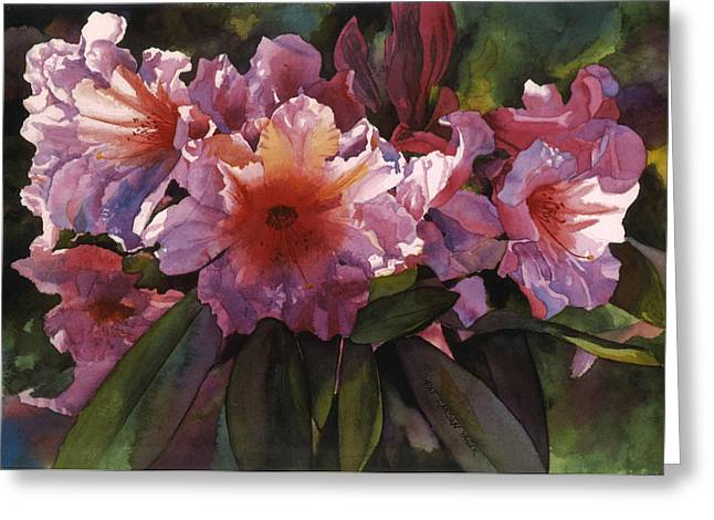 Watercolor Autumn Gold Rhododendron  Greeting Card by Pat Yager