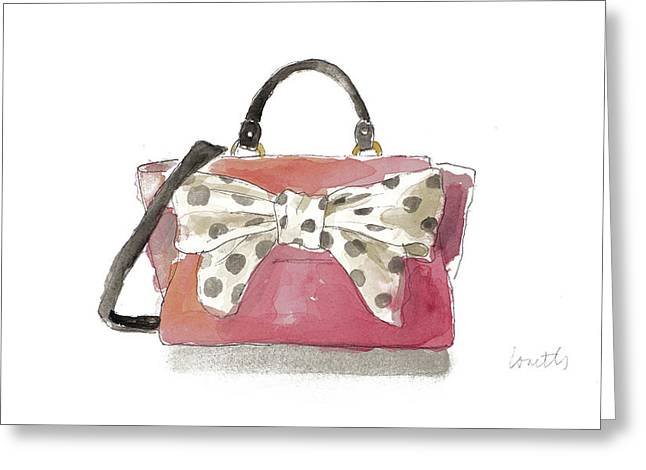 Watercolor Bow Satchel I Greeting Card