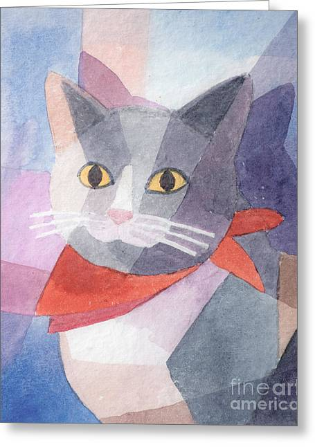 Watercolor Cat Greeting Card by Lutz Baar