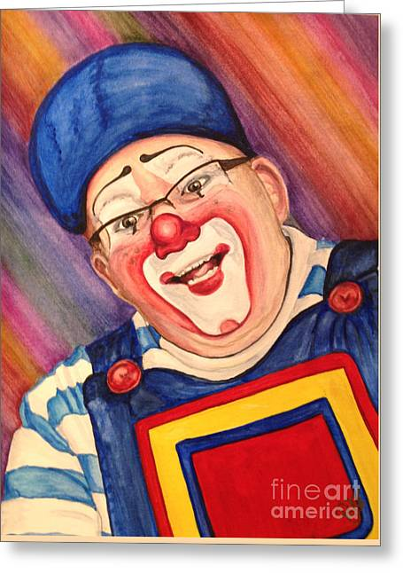 Watercolor Clown #20 Lee Andrews Greeting Card by Patty Vicknair