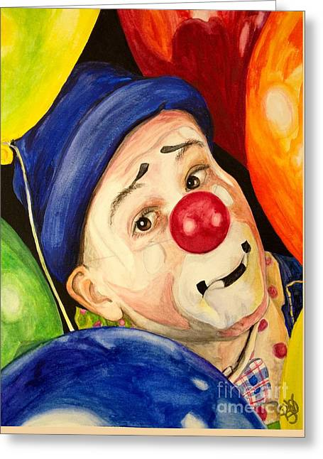 Watercolor Clown #5 Sean Carlock Greeting Card by Patty Vicknair