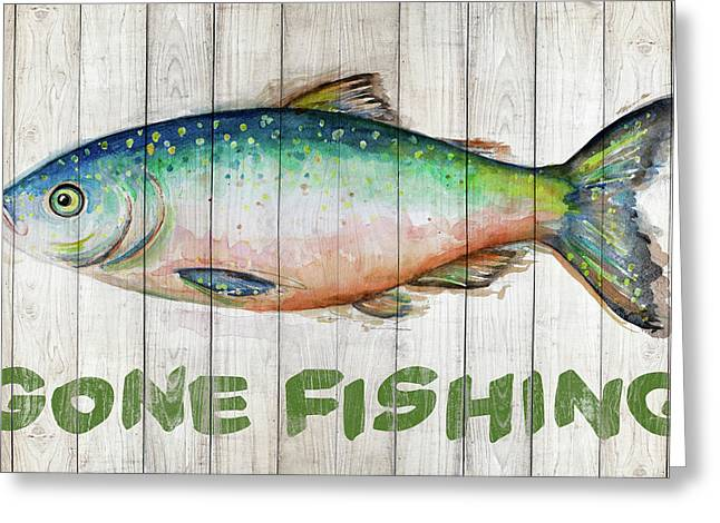 Watercolor Fish On Wood I Greeting Card by Patricia Pinto