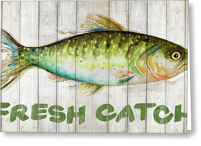 Watercolor Fish On Wood II Greeting Card by Patricia Pinto