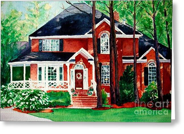 Watercolor Home Portrait 1 Greeting Card