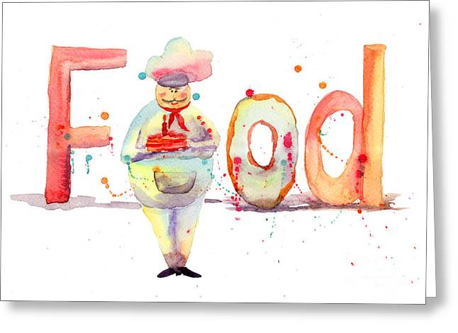 Watercolor Illustration Of Inscription Food With Chef  Greeting Card by Regina Jershova
