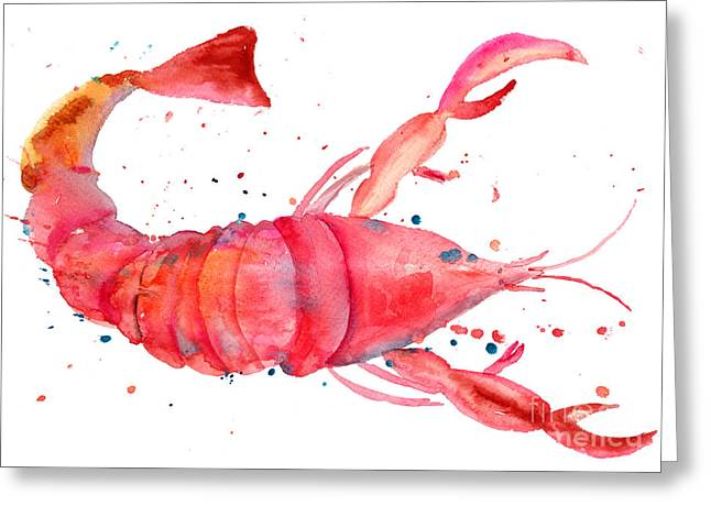 Watercolor Illustration Of Lobster Greeting Card by Regina Jershova